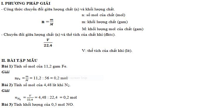 Bài tập tổng hợp vận dụng công thức n = m/ M; v = v/ 22,4 (có đáp án)