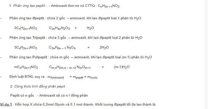 Phương pháp giải bài tập peptit - protein