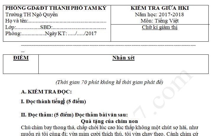 Đề thi giữa kì 1 môn Tiếng Việt lớp 5 - Tam Kỳ 2017 -2018