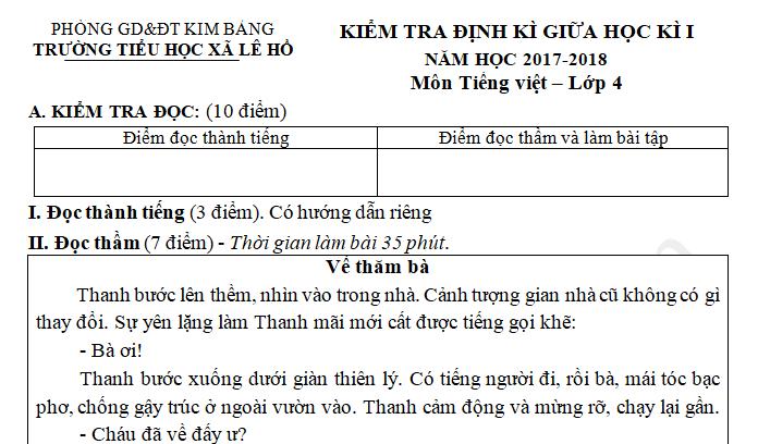 Đề thi giữa kì 1 môn Tiếng Việt lớp 4 năm 2017 - Tiểu học Lê Hồ