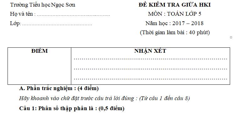 Đề thi giữa học kì 1 môn Toán lớp 5 - TH Ngọc Sơn 2017