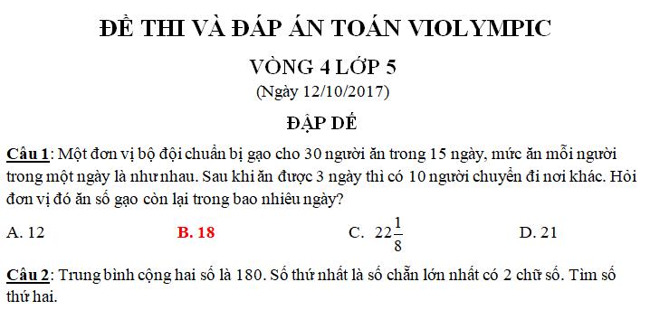Đề thi toán VIOLYMPIC vòng 4 lớp 5 năm 2017 có đáp án