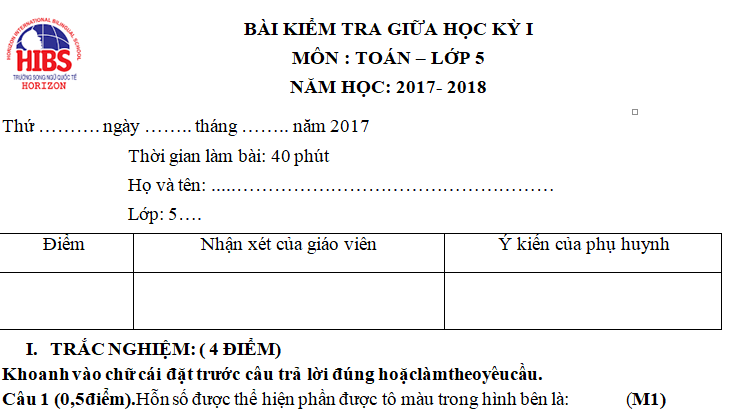 Đề kiểm tra Tiếng việt lớp 5 giữa kì 1 năm 2017 - 2018