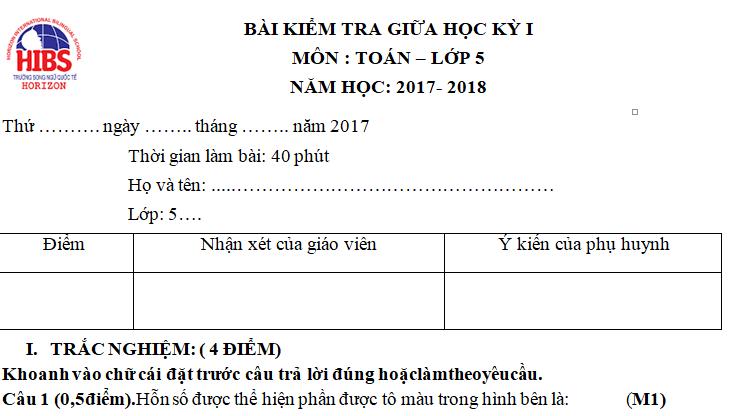 Đề kiểm tra giữa kì 1 lớp 5 môn Toán 2017 - TH Song Ngữ