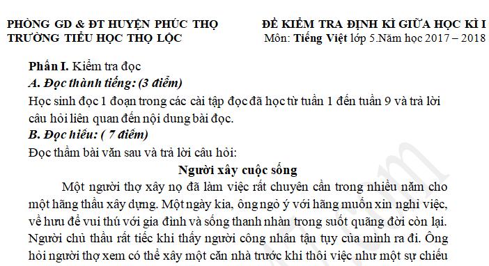 Đề thi giữa kì 1 môn Tiếng Việt lớp 5 - TH Thọ Lộc năm 2017