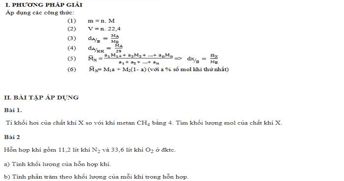Bài tập về tỉ khối. Dạng 3 - Bài tập tổng hợp (có vận dụng thực tế)