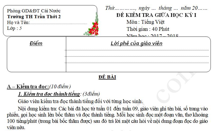 Đề thi giữa học kì 1 môn Tiếng Việt lớp 5 - TH Trần Nhới 2017