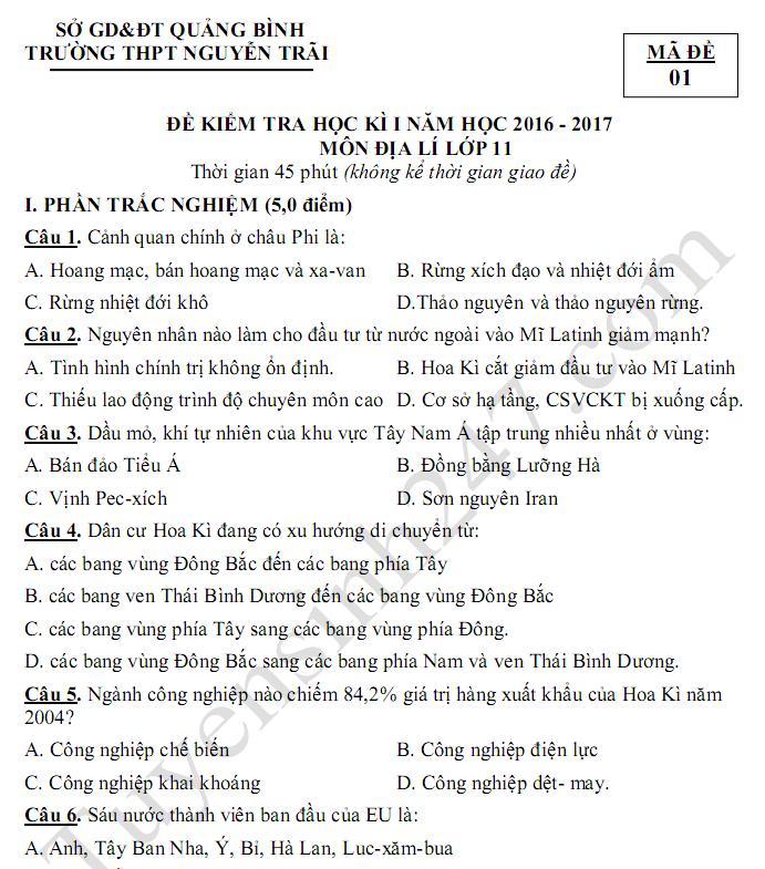 Đề kiểm tra học kì 1 lớp 11 môn Địa - THPT Nguyễn Trãi 2017
