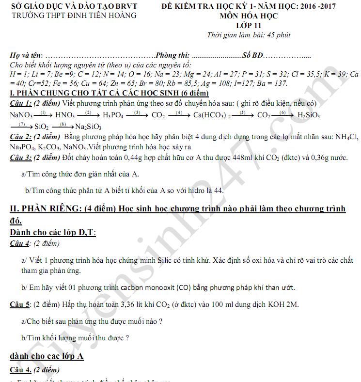 Đề kiểm tra học kì 1 môn Hóa lớp 11 - THPT Đinh Tiên Hoàng 2017