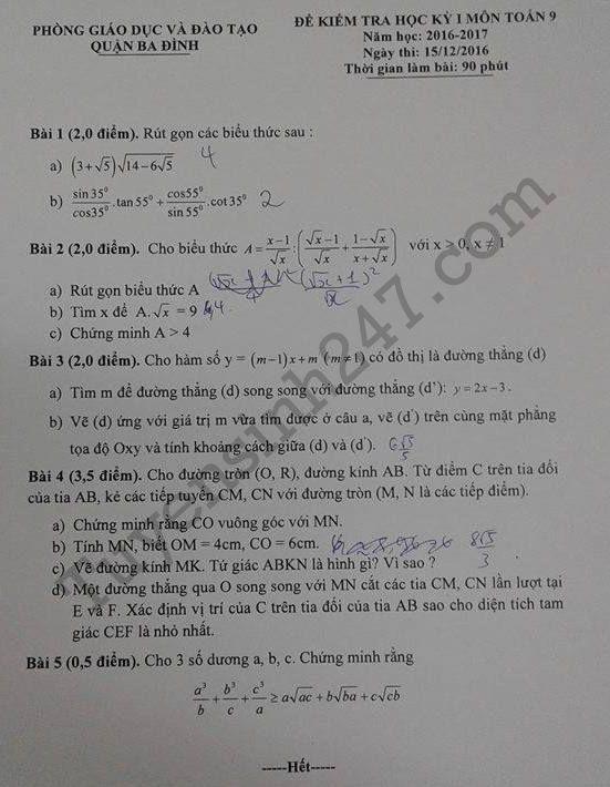Đề thi học kì 1 môn Toán lớp 9 năm 2017 - Quận Ba Đình