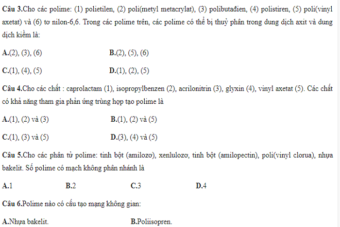 40 câu lý thuyết polime nâng cao