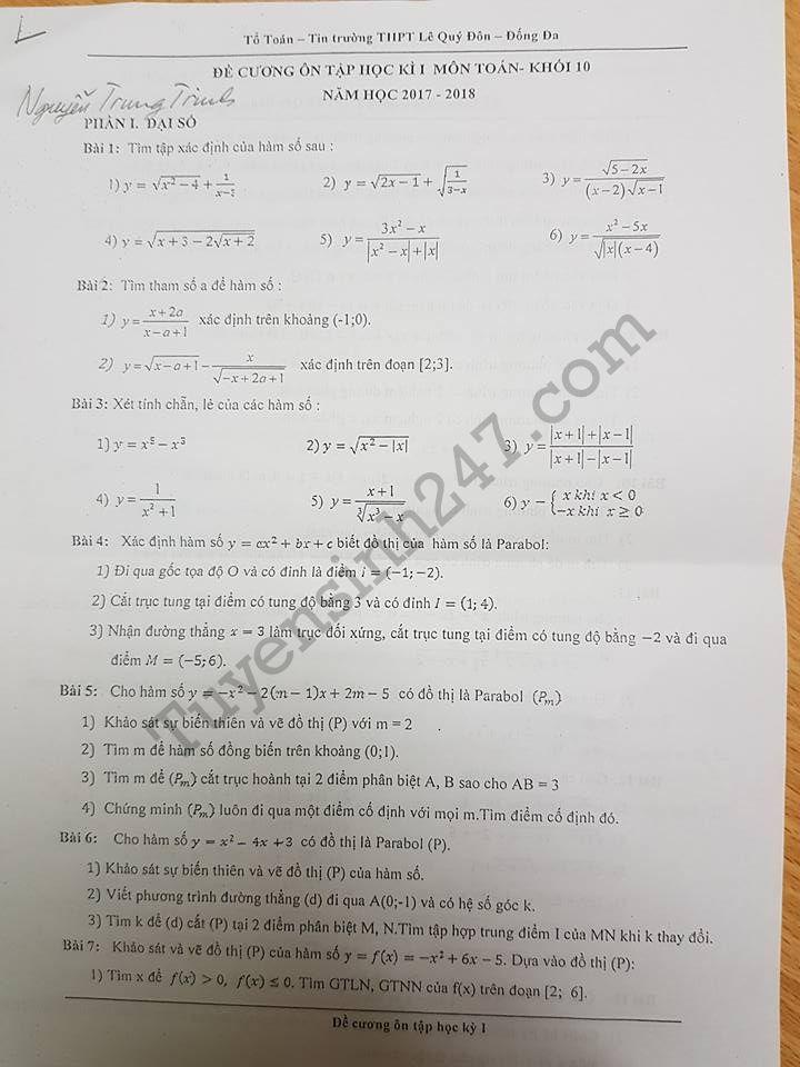 Đề cương ôn tập kì 1 môn Toán lớp 10 - THPT Lê Quý Đôn năm 2017