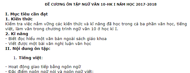 Đề cương thi học kì 1 môn Văn lớp 10 - THPT Hà Huy Tập 2017