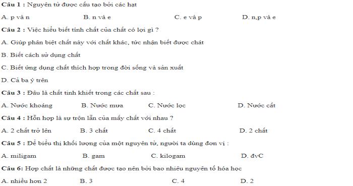 Đề kiểm tra 15 phút chương III: Mol và tính toán hóa học (3 đề - có đáp án)