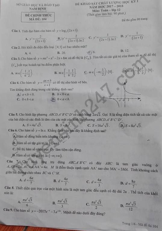 Đáp án đề thi học kì 1 lớp 12 môn Toán năm 2017 - 2018 Sở GD Nam Định