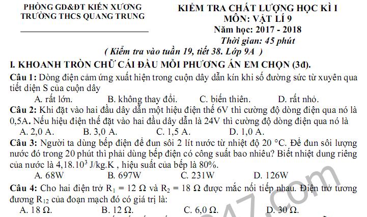 Đề kiểm tra học kì 1 lớp 9 môn Lý - THCS Quang Trung năm 2017 - 2018