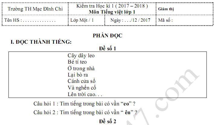 Đề thi học kì 1 lớp 1 môn Tiếng Việt - TH Mạc Đĩnh Chi năm 2017