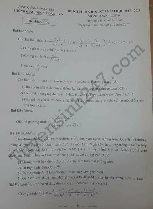 Đề kiểm tra cuối kì 1 lớp 9 môn Toán - Quận Hoàng Mai 2017