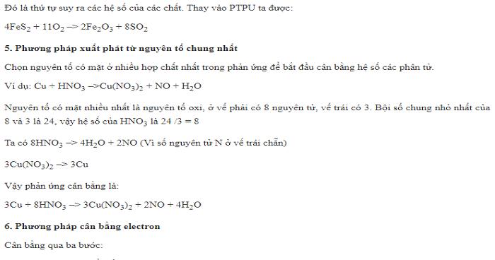 Một số phương pháp cân bằng phản ứng oxi hóa khử