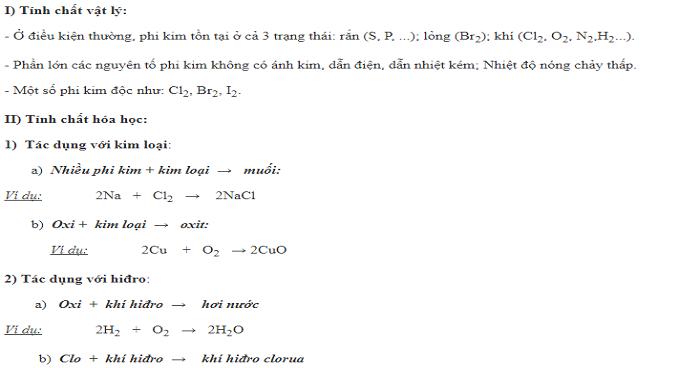 Tính chất hóa học chung của phi kim (Có bài tập áp dụng)