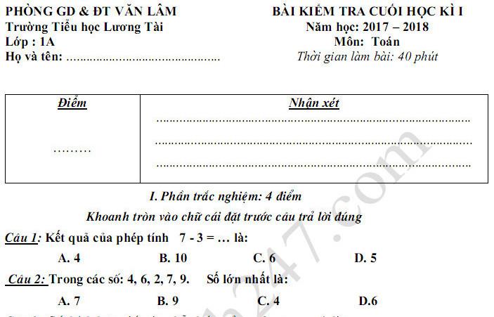 Đề thi kì 1 lớp 1 môn Toán - TH Lương Tài năm học 2017 - 2018