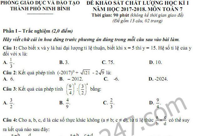 Đề thi học kì 1 lớp 7 môn Toán - Phòng GD Ninh Bình năm 2017 - 2018