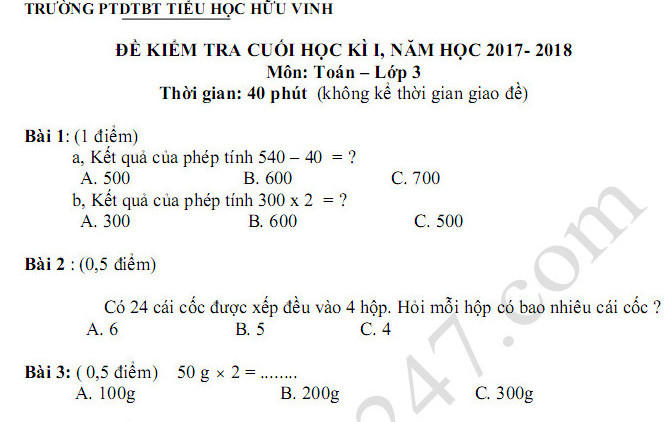 Đề kiểm tra cuối kì 1 lớp 3 môn Toán năm 2017 - 2018 TH Hữu Vinh