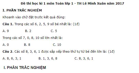 Đề thi kì 1 năm 2017 môn Toán lớp 1 - trường TH Lê Minh Xuân