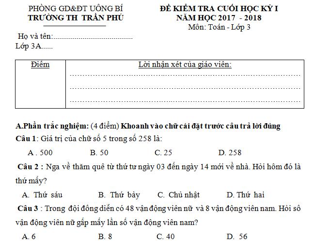 Đề kiểm tra cuối kì 1 môn Toán lớp 3 - TH Trần Phú năm 2017 - 2018
