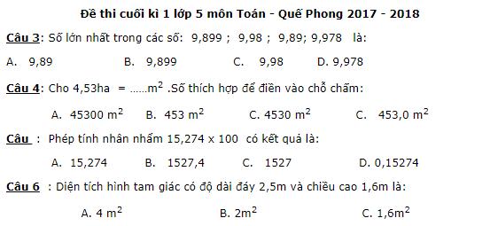 Đề kiểm tra cuối kì 1 lớp 5 môn Toán - Quế Phong năm học 2017 - 2018