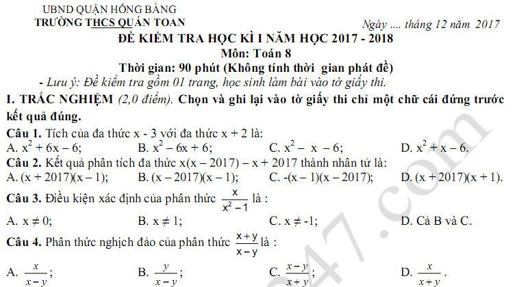 Đề thi kì 1 môn Toán lớp 8 trường THCS Quán Toan 2017 - 2018