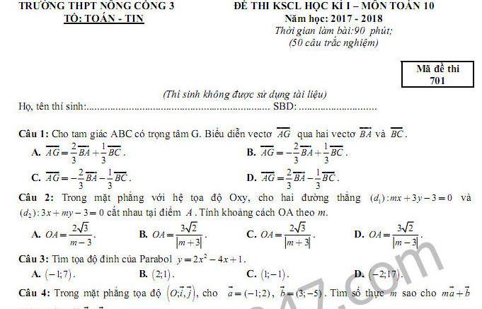 Đề thi học kì 1 môn Toán lớp 10 trường THPT Nông Cống 3 năm 2017