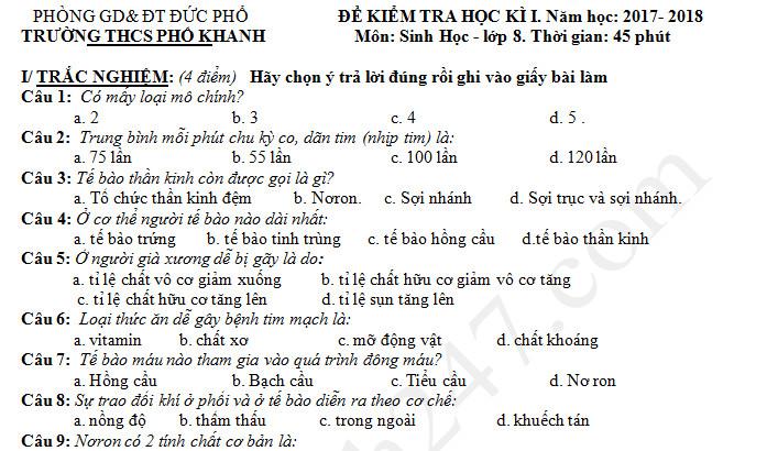 Đề kiểm tra học kì 1 lớp 8 môn Sinh năm 2017 - THCS Phổ Khánh