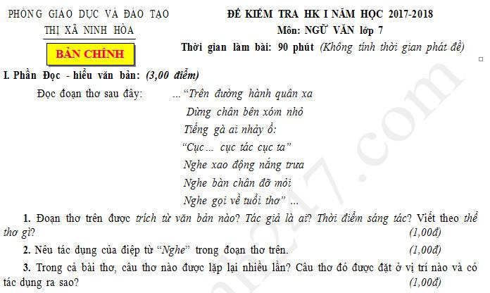 Đề thi kì 1 lớp 7 môn Văn - Ninh Hòa năm 2017 - 2018
