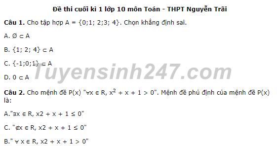 Đề thi học kì 1 môn Toán lớp 10 - THPT Nguyễn Trãi 2017
