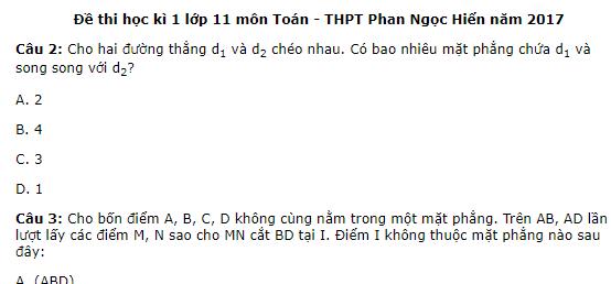 Đề thi học kì 1 lớp 11 môn Toán - THPT Phan Ngọc Hiển năm 2017