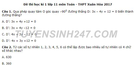 Đề thi cuối kì 1 năm 2017 môn Toán lớp 11 - THPT Xuân Hòa