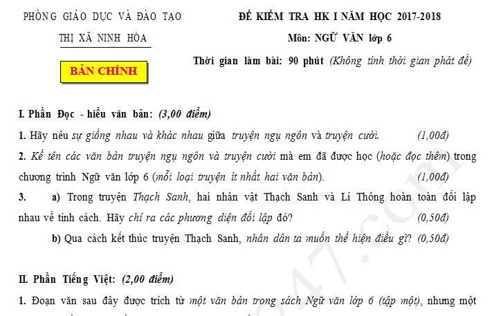 Đề thi học kì 1 môn Văn lớp 6 năm 2017 - Thị xã Ninh Hòa