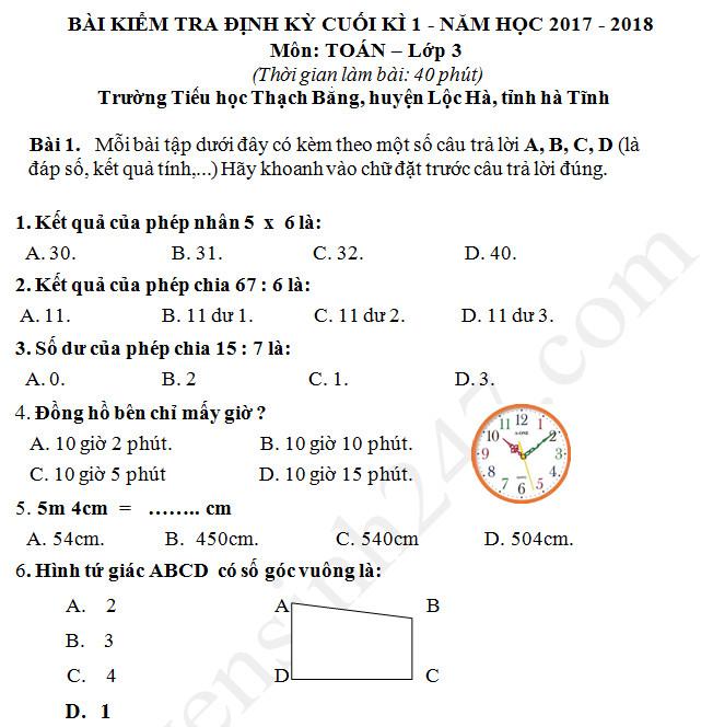 Đề thi học kì 1 năm 2017 - 2018 môn Toán lớp 3 TH Thạch Bằng