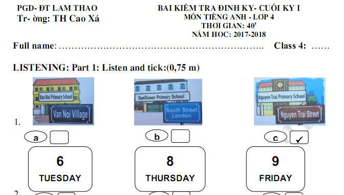 Đề kiểm tra học kì 1 năm 2017 - 2018 lớp 4 môn Anh TH Cao Xá