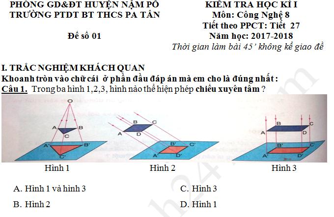 Đề thi kì 1 năm 2017 - 2018 lớp 8 môn Công nghệ THCS Pa Tần