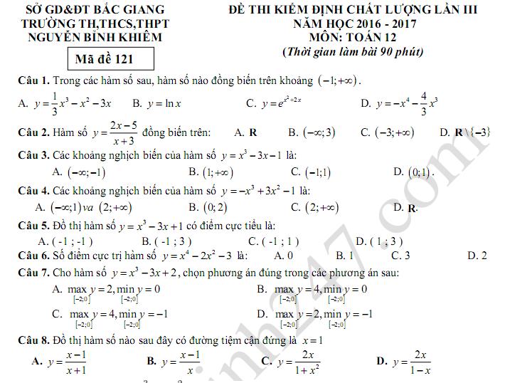 Đề thi giữa kì 2 lớp 12 môn Toán 2017 THPT Nguyễn Bỉnh Khiêm