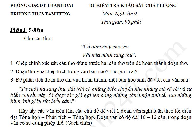 Đề thi giữa kì 2 lớp 9 môn Văn THCS Tam Hưng năm 2017