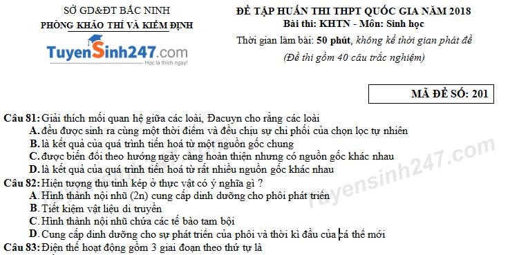 ĐỀ TẬP HUẤN THI THPT QUỐC GIA NĂM 2018 - Sở GD&ĐT Bắc Ninh (có đáp án)