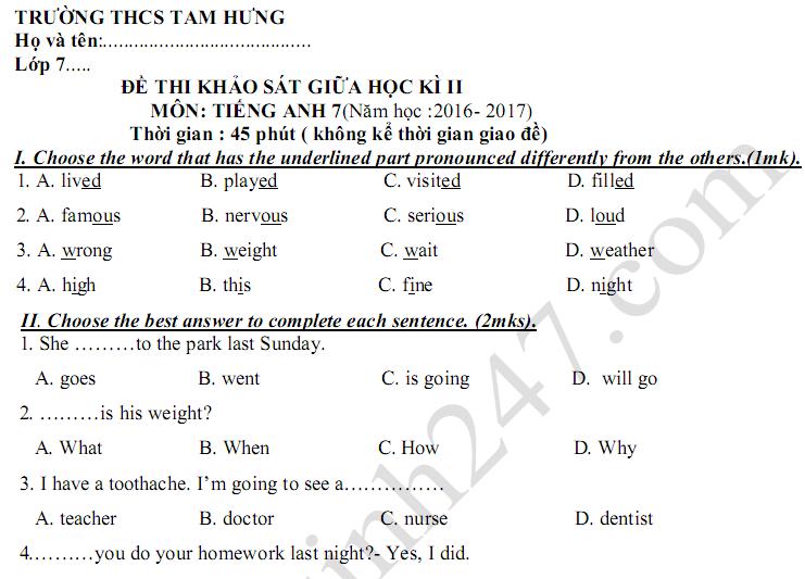 Đề kiểm tra giữa kì 2 lớp 7 môn Anh THCS Tam Hưng 2017