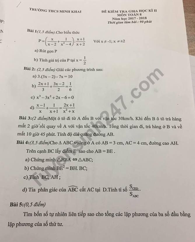 Đề kiểm tra giữa kì 2 lớp 8 môn Toán 2018 - THCS Minh Khai
