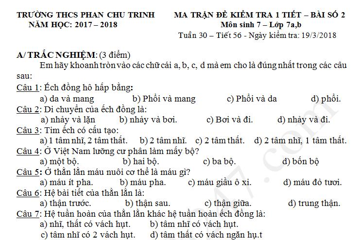 Đề kiểm tra giữa kì 2 lớp 7 môn Sinh 2018 - THCS Phan Chu Trinh