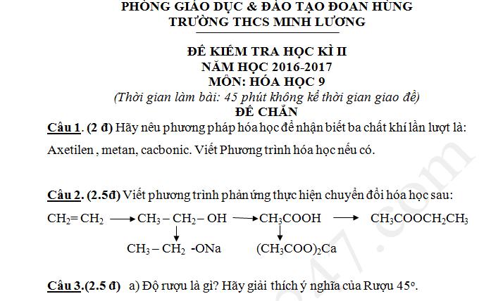 Đề kiểm tra học kì 2 lớp 9 môn Hóa 2017 - THCS Minh Lương