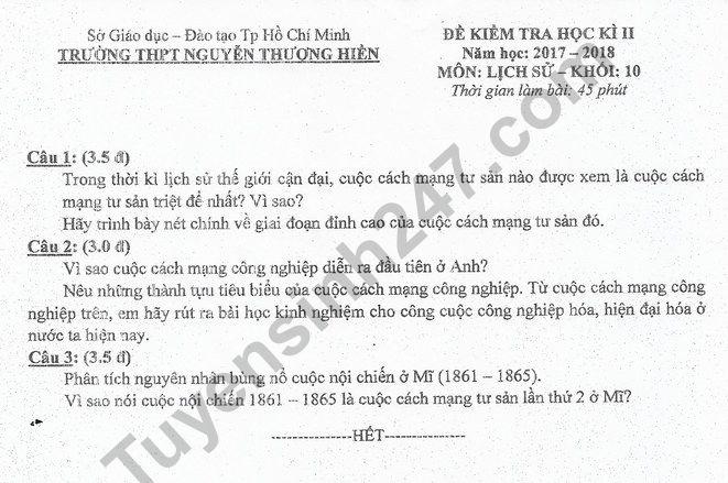 Đề thi học kì 2 lớp 10 môn Sử - THPT Nguyễn Thượng Hiền 2018