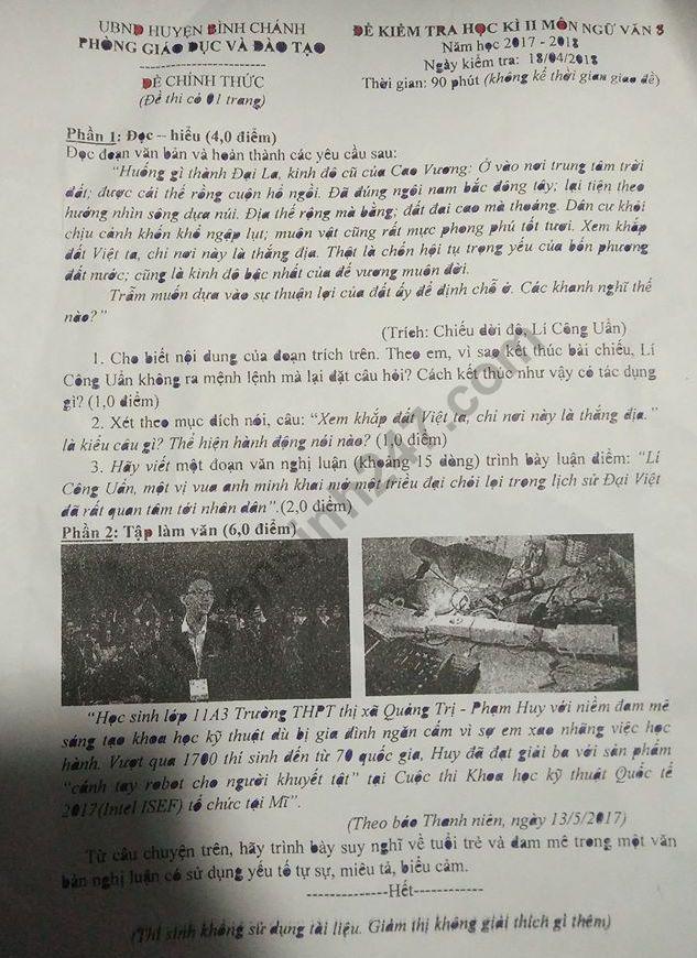 Đề thi kì 2 lớp 8 môn Văn - huyện Bình Chánh 2018